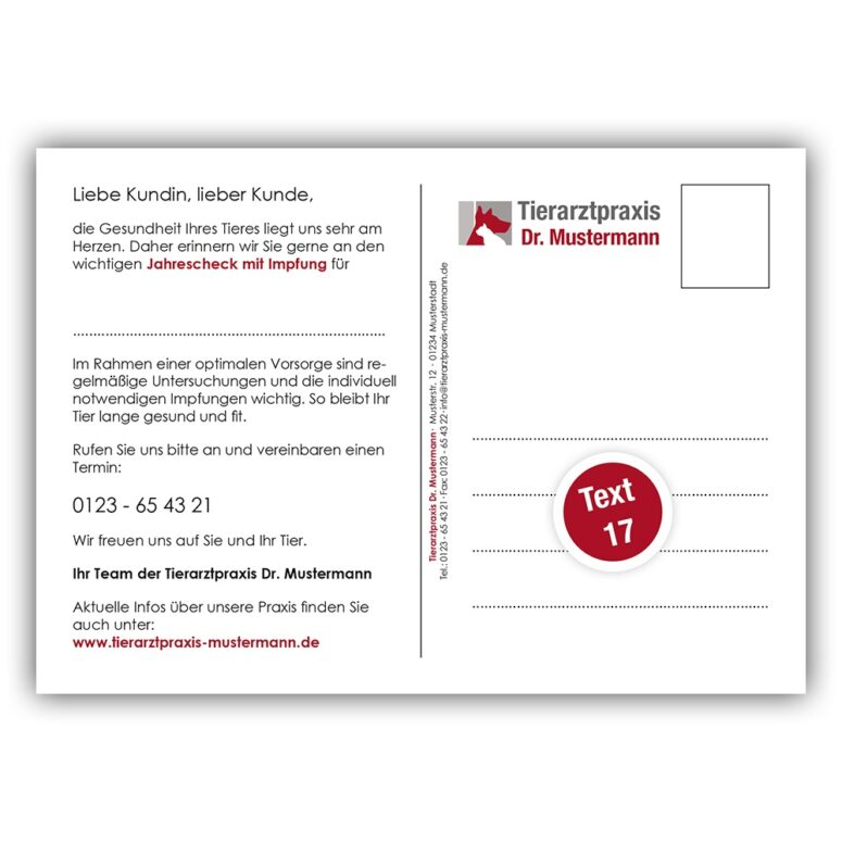 Recallkarte Tierarztpraxis Textvariante 17 Ruhmservice