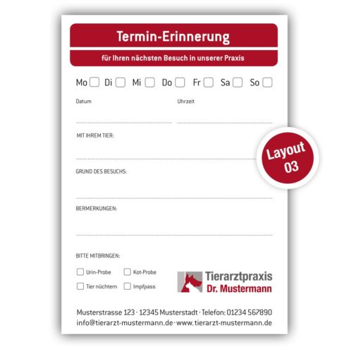 Terminblock Tierarzt - Layout 3