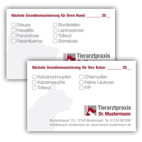 Impfpass Einsteckkarte Tierarztpraxis