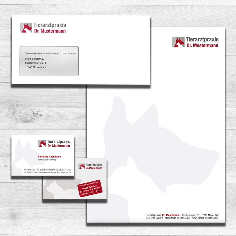 Briefpapier und Visitenkarten Tierarztpraxen