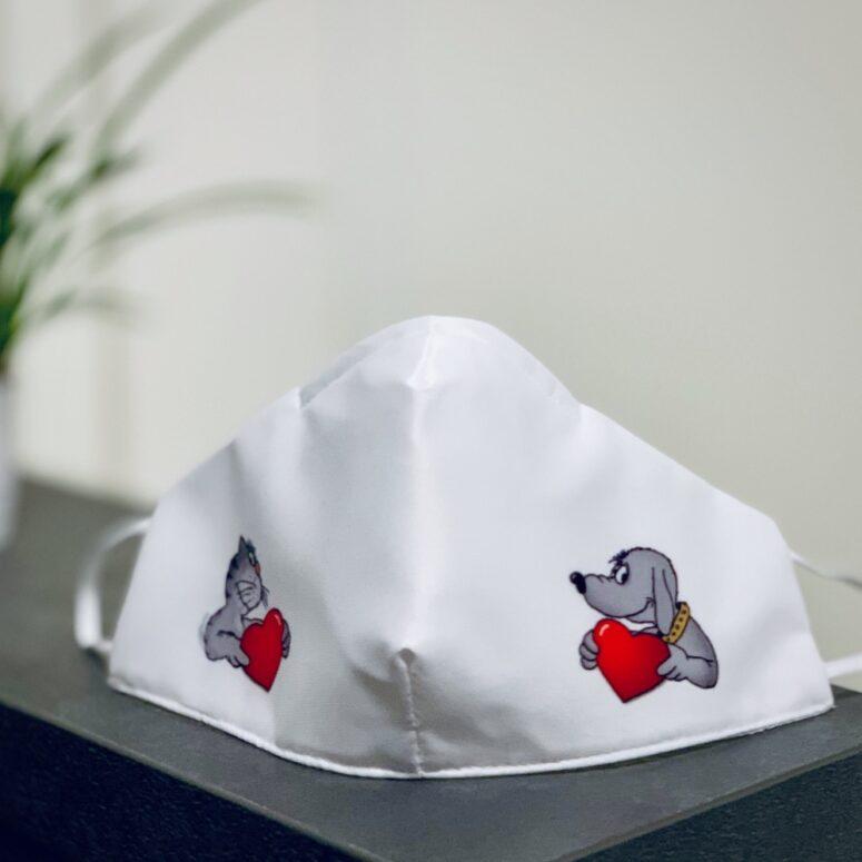 Foto der Corona Alltagsmaske für Tierarztpraxen mit Uli Stein Cartoon