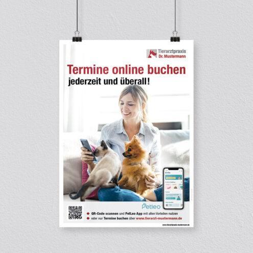 Poster zum Hinweis Online Terminbuchung PetLeo Tierarztpraxis
